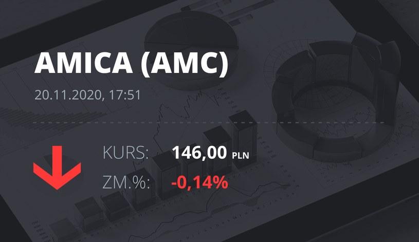 Notowania akcji spółki Amica z 20 listopada 2020 roku