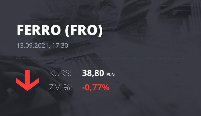 Notowania akcji spółki Ferro z 13 września 2021 roku