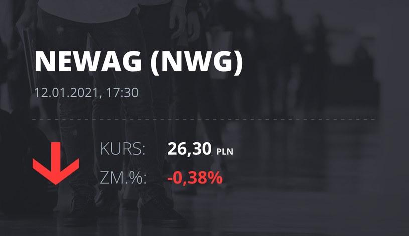 Notowania akcji spółki Newag z 12 stycznia 2021 roku