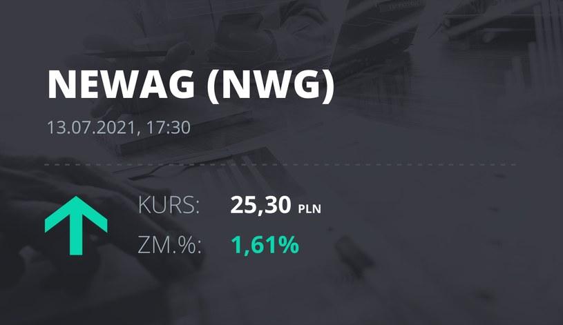 Notowania akcji spółki Newag z 13 lipca 2021 roku