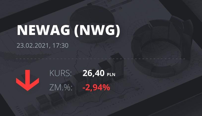 Notowania akcji spółki Newag z 23 lutego 2021 roku