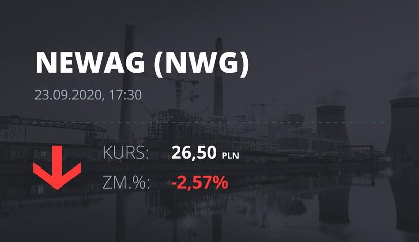 Notowania akcji spółki Newag z 23 września 2020 roku