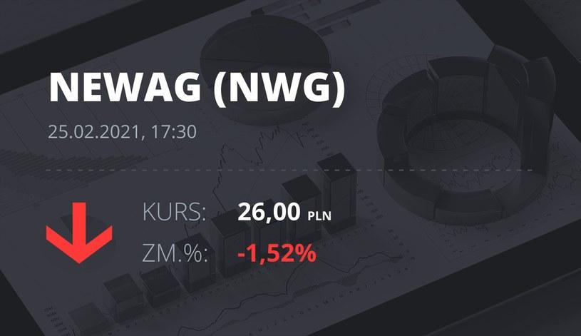 Notowania akcji spółki Newag z 25 lutego 2021 roku