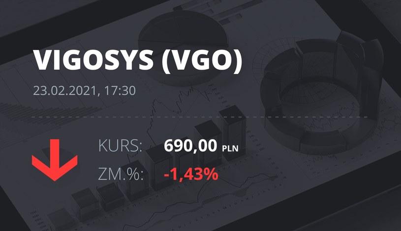 Notowania akcji spółki VIGO System z 23 lutego 2021 roku