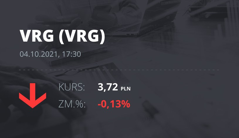 Notowania akcji spółki VRG z 4 października 2021 roku