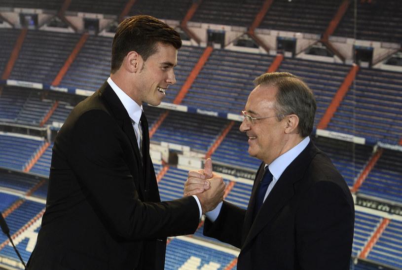 """Nowa gwiazda Realu Madryt Gareth Bale i prezydent """"Królewskich"""" Florentino Perez /AFP"""