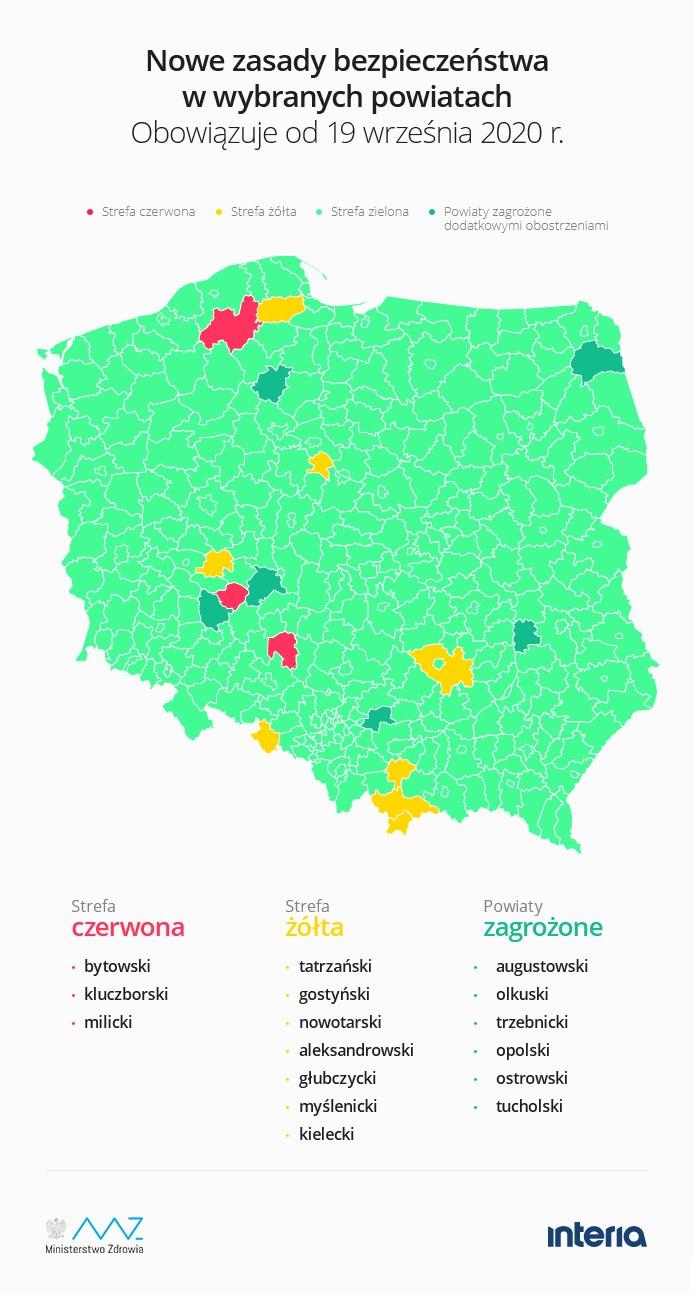 Nowa lista powiatów, które znalazły się w żółtej i czerwonej strefie /INTERIA.PL