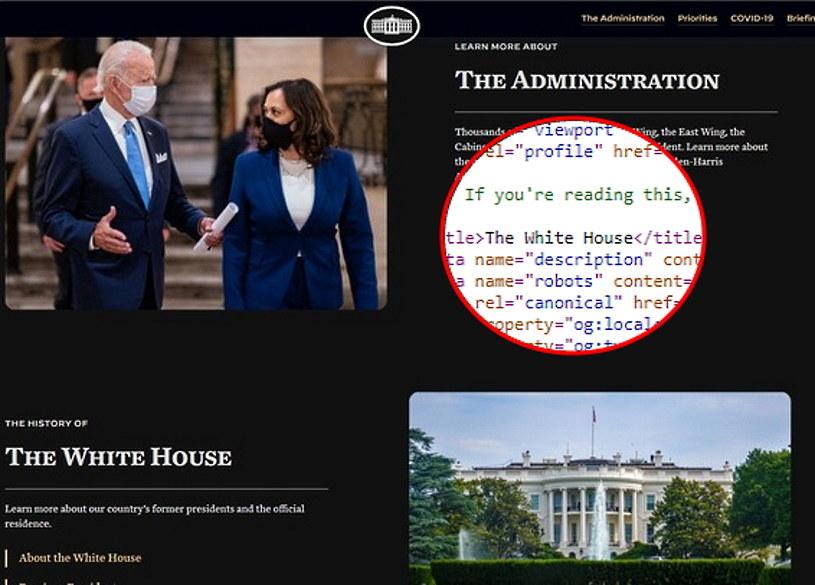 Nowa strona Białego Domu i zaszyta w HTML-u wiadomość /INTERIA.PL
