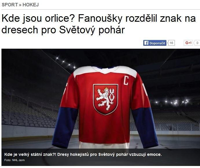 Nowa wersja koszulek reprezentacji Czech. Źródło: sport.aktualne.cz /