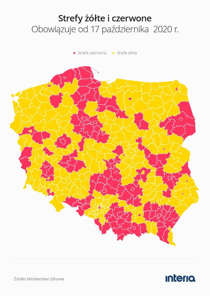 Nowe czerwone punkty na mapie Polski /INTERIA.PL