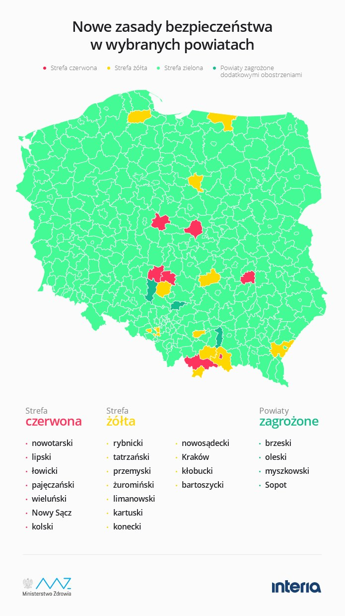 Nowe strefy żółte i czerwone w Polsce /INTERIA.PL