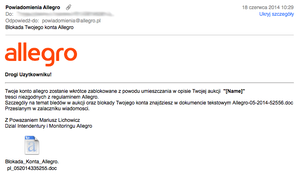 Nowy atak na użytkowników Allegro