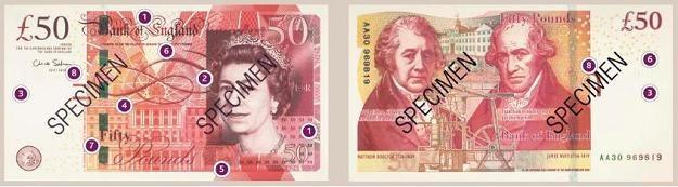 Nowy banknot 50-funtowy /INTERIA.PL