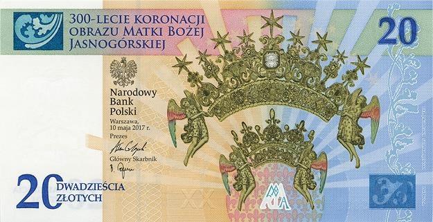 Nowy banknot kolekcjonerski: 300-lecie koronacji Obrazu Matki Bożej Jasnogórskiej - przednia strona /NBP