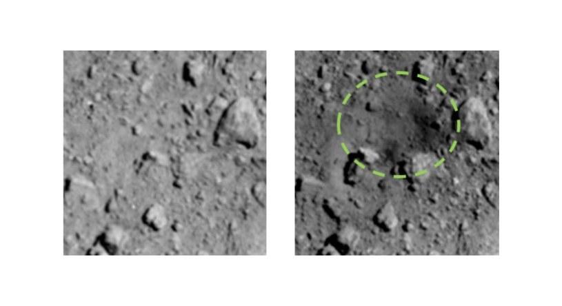 Nowy krater na powierzchni Ryugu (po prawej) oraz porównanie stanu przed impaktem (po lewej) /materiały prasowe