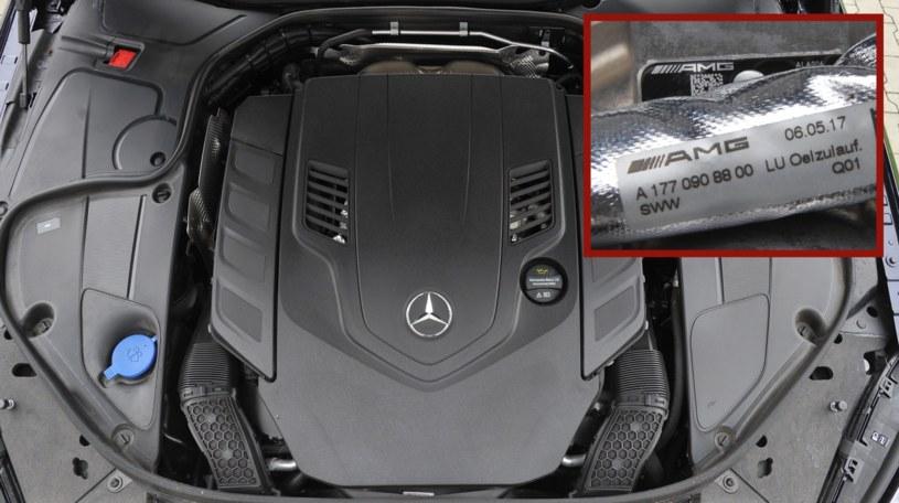 Nowy silnik 4.0 V8 biturbo to słabsza wersja konstrukcji z Mercedesa-AMG GT czy S 63 AMG. Świadczą o tym liczne oznaczenia AMG pod maską S 560. /Motor