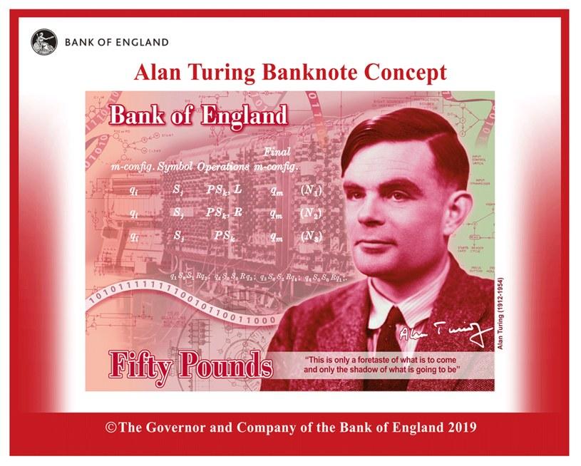 Nowym banknotem Anglicy uczcili wybitnego matematyka Alana Turinga. Fot. Bank of England /