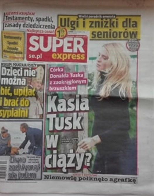 """O ciąży Kasi Tusk donosi tabloid """"Super Express"""" /materiał zewnętrzny"""