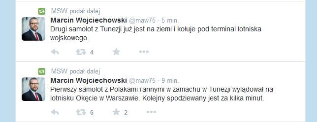 O lądowaniu samolotu z Polakami poinformował również rzecznik MSW Marcin Wojciechowski /Twitter