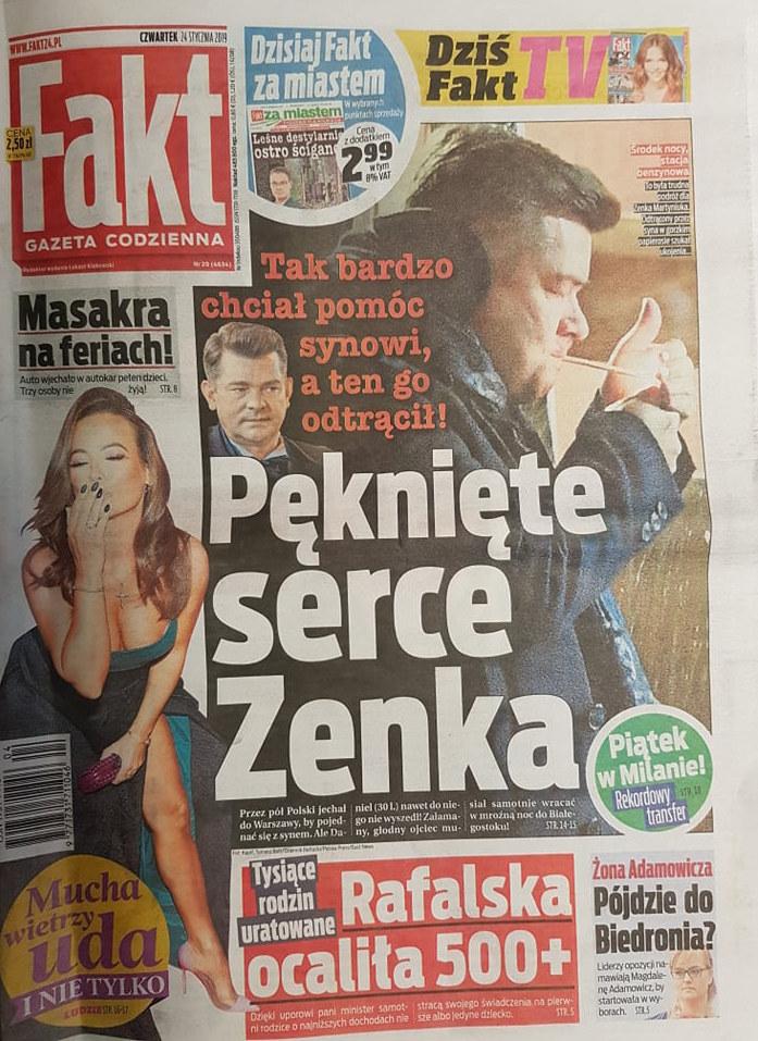 "O Zenonie Martyniuku i jego synu pisze ""Fakt"" /Fakt /"