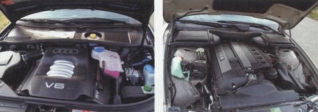 """Oba silniki ustawiono podłużnie. W Audi jednostka V6 jest krótsza, a rzędowa """"szóstka"""" BMW sięga aż w głąb kabiny. W sumie jednak silniki są równie nowoczesne, choć ten w BMW daje się znacznie lepiej słyszeć. /Motor"""