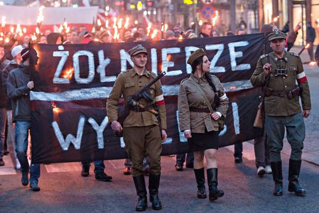 Obchody Narodowego Dnia Pamięci Żołnierzy Wyklętych w Gdyni w 2014 roku /Łukasz Dejnarowicz /Agencja FORUM