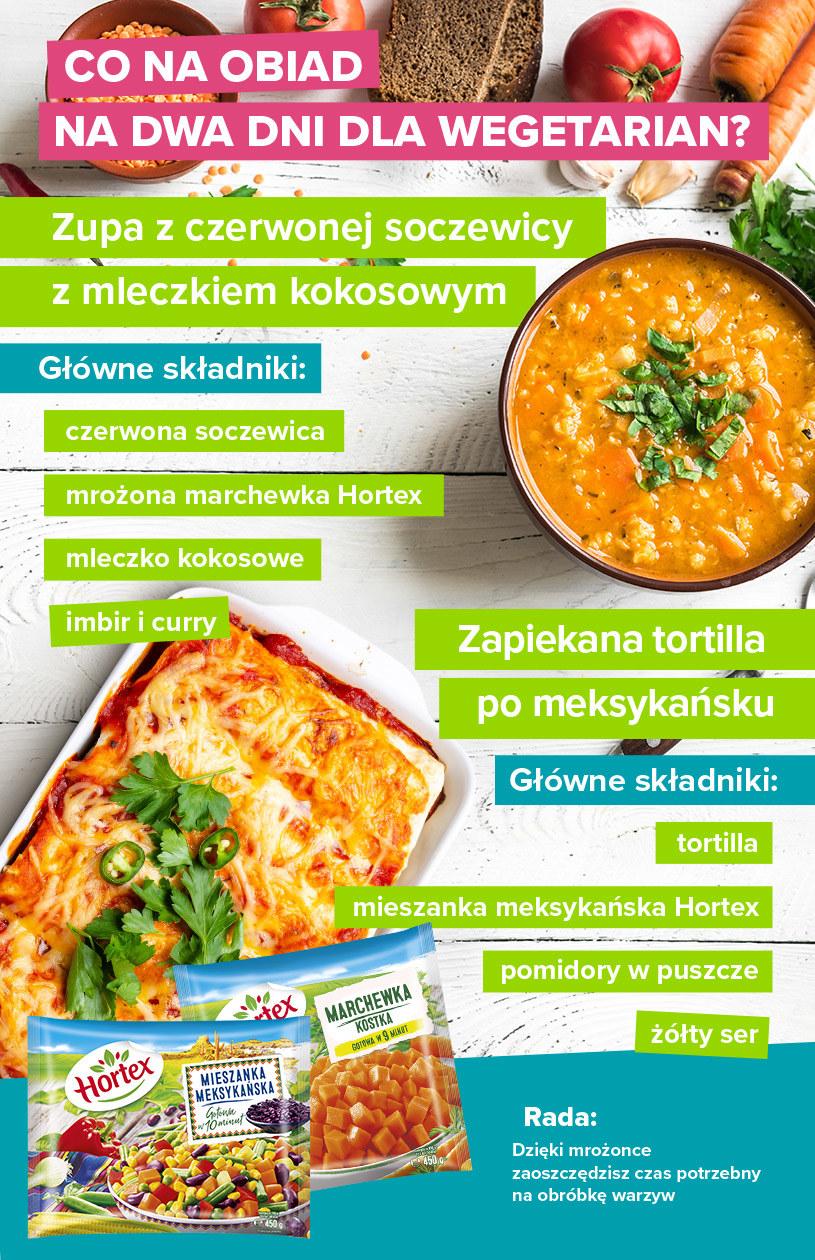 Obiad na dwa dni dla wegetarian – infografika /materiały promocyjne