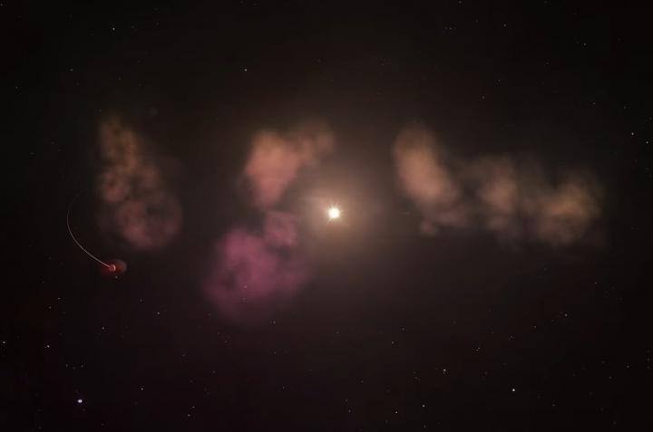 Obłoki pyłu i planeta wokół gwiazdy RZ Piscium /NASA /Materiały prasowe