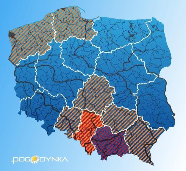 Obowiązujące w czwartek po południu ostrzeżenia hydrologiczne /IMGW/pogodynka.pl /Zrzut ekranu