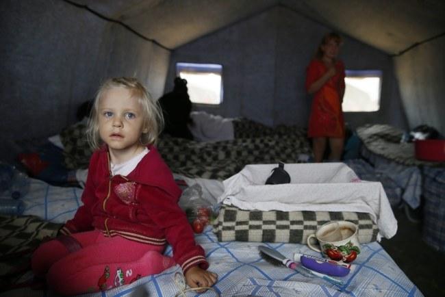 Obóz dla uchodźców z Ukrainy /YURI KOCHETKOV /PAP/EPA