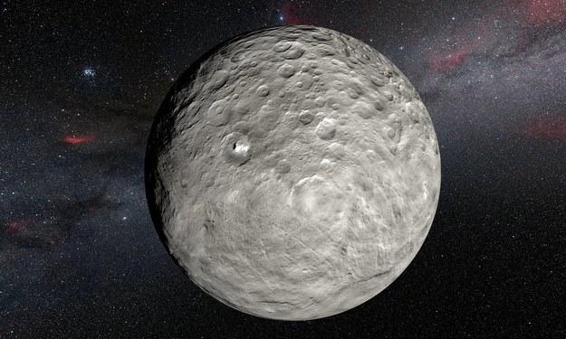 Obraz Ceres i jej białych plam na tle nieba /ESO/L.Calçada/NASA/JPL-Caltech/UCLA/MPS/DLR/IDA/Steve Albers/N. Risinger (skysurvey.org) /materiały prasowe