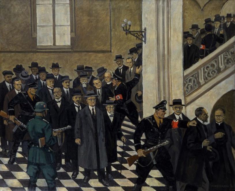Obraz Mieczysława Wątorskiego przedstawiający wydarzenia z 6 listopada 1939 roku (z zasobów Uniwersytetu Jagiellońskiego) /