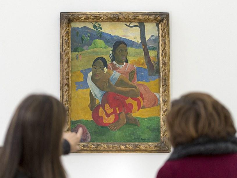 """obraz """"Nafea Faa Ipoipo"""" (w języku tahitańskim """"Kiedy mnie poślubisz?"""") powstał w 1892 roku /PAP/EPA"""