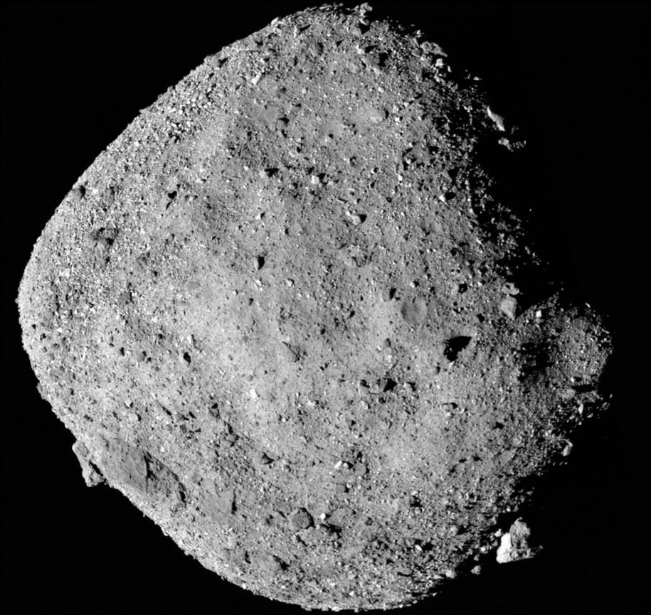 Obraz planetoidy Bennu, złożony z 12 zdjęć wykonanych kamerą PolyCam 2 grudnia z odległości około 24 km /NASA/Goddard/University of Arizona /Materiały prasowe