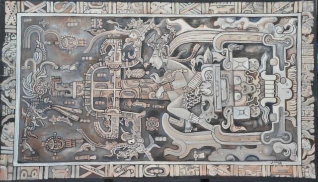Obraz przedstawiony na grobowcu Pakala. Czy to wizerunek statku kosmicznego? /materiały prasowe