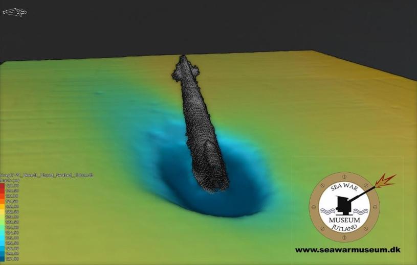 Obraz sonarowy odnalezionego U-Boota /CC BY-SA 4.0 /domena publiczna