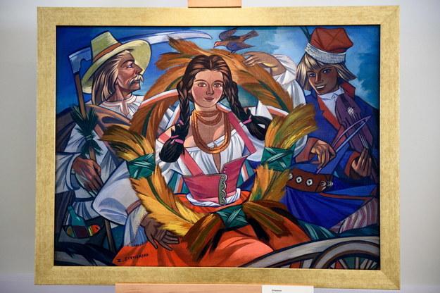 """Obraz """"Żniwiarze"""" prezentowany na wystawie prac Zofii Stryjeńskiej w 2017 roku w Tarnowie /Paweł Topolski /PAP"""