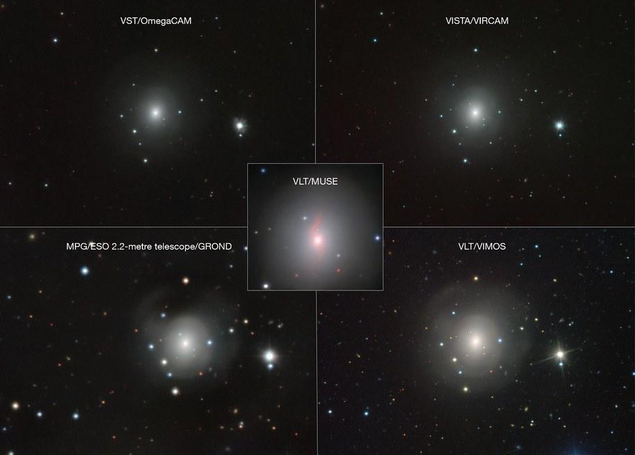 Obrazy kilonowej z róznych obserwatoriów /VLT/VIMOS. VLT/MUSE, MPG/ESO 2.2-metre telescope/GROND, VISTA/VIRCAM, VST/OmegaCAM /Materiały prasowe