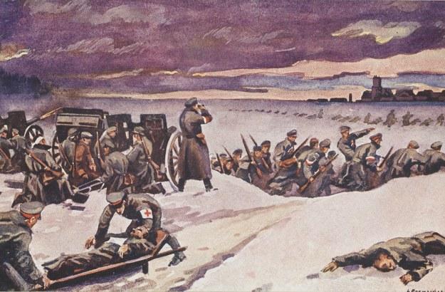 Obrazy Leona Prauzińskiego przedstawiający zdobycie kontrolowanego przez Niemców lotniska w Ławicy pod Poznaniem /Polona /Biblioteka Narodowa