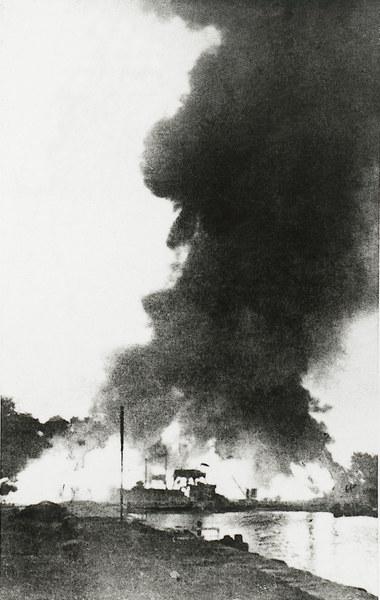 Obrona Westerplatte, pożary po bombardowaniu