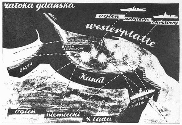 Obrona Westerplatte, plan ostrzeliwania z lądu i morza, wrzesień 1939