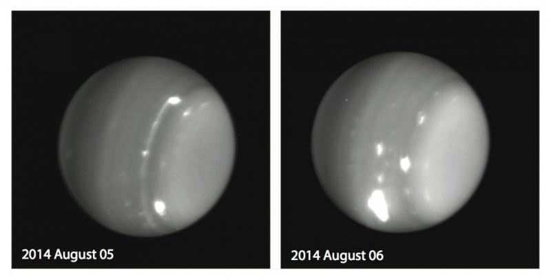 Obserwacje Urana na paśmie podczerwieni z 5 i 6 sierpnia 2014 /NASA