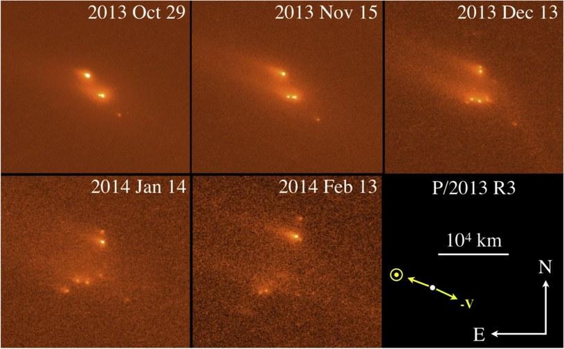 Obserwacje z HST – fragmentacja P/2013 R3 /materiały prasowe
