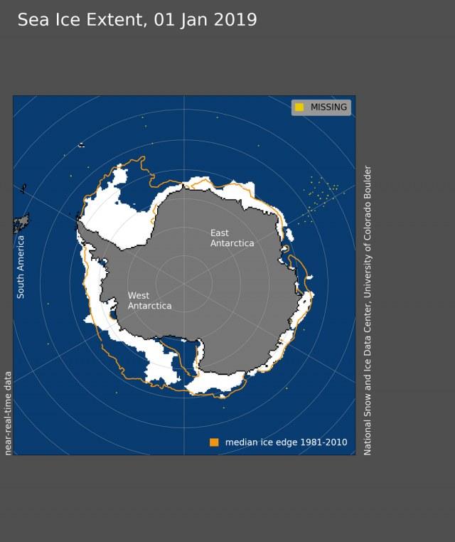 Obszar antarktycznego lodu morskiego 1 stycznia 2019 roku osiągnął 5,47 miliona kilometrów kwadratowych /materiały prasowe