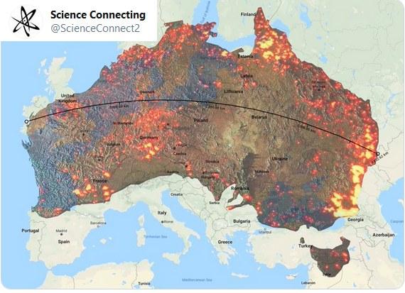 Obszar dotknięty pożarami w Australii naniesiono na mapę Europy /Twitter