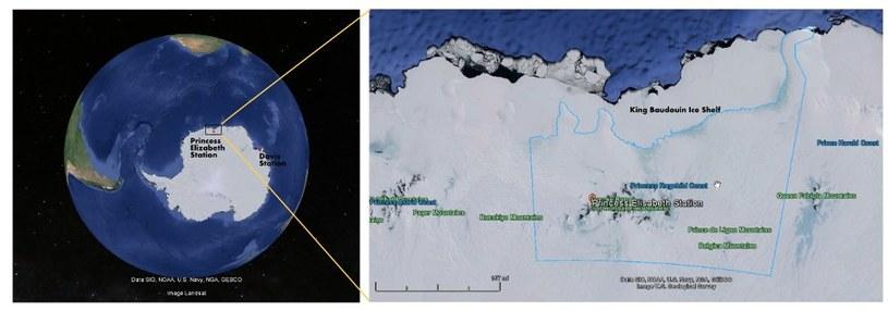 Obszar o nazwie Wybrzeże Księżniczki Ragnhildy. Źródło: Google Maps, NOAA. /Kosmonauta