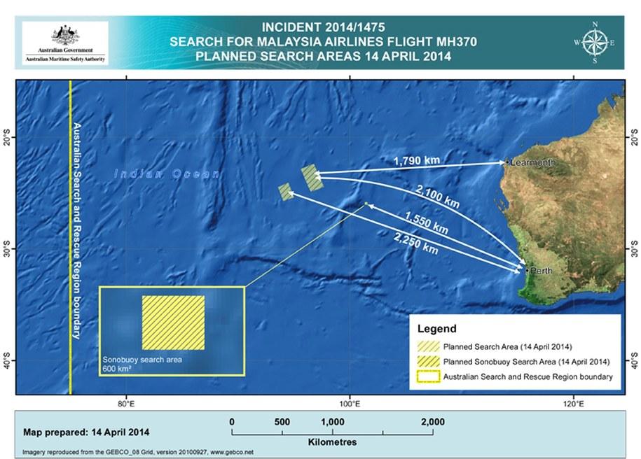Obszar poszukiwań zaginionego Boeinga 777 /AMSA /PAP/EPA