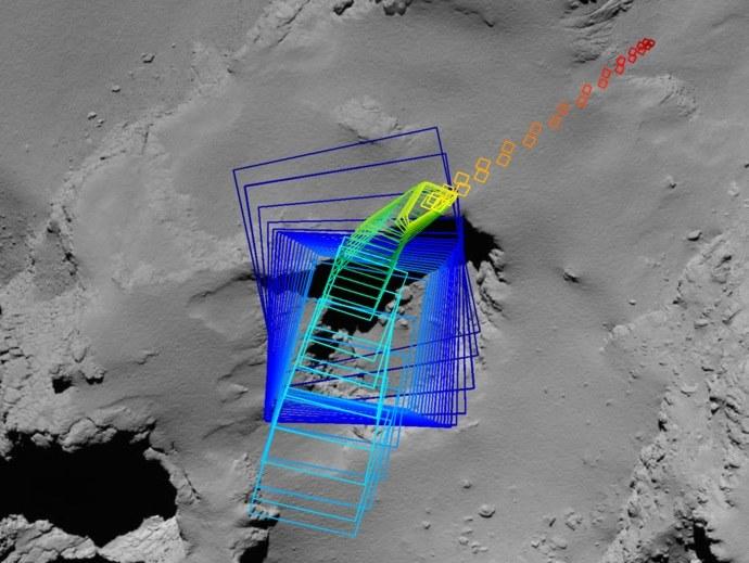 Obszar widoczny na kolejnych (od niebieskiego do czerwonego) zdjęciach, wykonanych podczas ostateniego manewru sondy Rosetta /ESA/Rosetta/MPS for OSIRIS Team MPS/UPD/LAM/IAA/SSO/INTA/UPM/DASP/IDA /materiały prasowe
