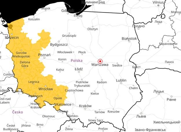 Obszary objęte alertem dot. roztopów / meteo.imgw.pl /