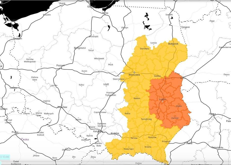 Obszary objęte ostrzeżeniami IMGW /meteo.imgw.pl/ /